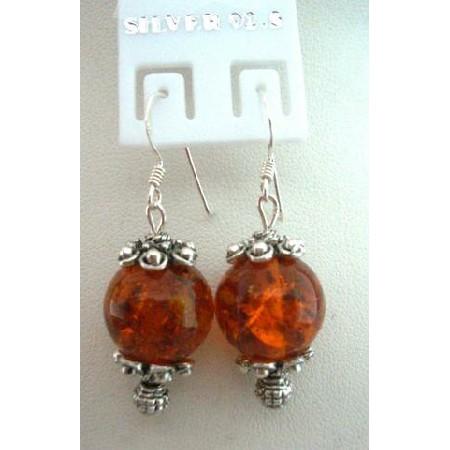Amber Stone Bead w/ Bali Silver w/ Sterling Silver 92.5 Hook