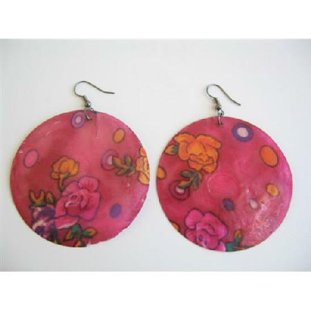 Shell Painted Earrings Round Redish Pink Shell Painted Flower Earrings