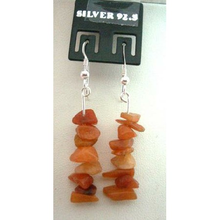 Handmade Custom Sterling Silver Carnelian Nugget Chip Earrings