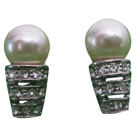 Cream Pearl w/ Cubic Zircon Stones Embedded Surgical Post Stud Earrings