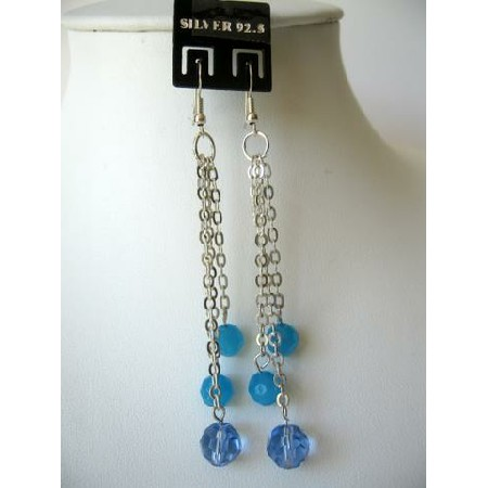 Silver Plated Chain Dangling Boho Beads Faceted Beads Shades of Blue