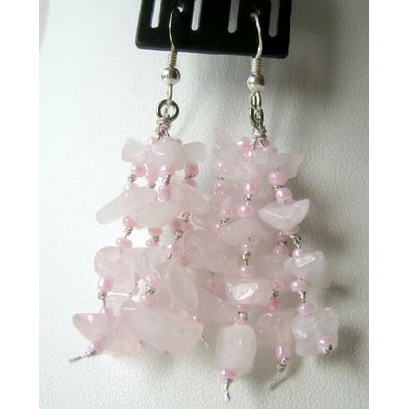 Sterling Silver Rose Quartz Stone Nugget Chip Dangling Earring