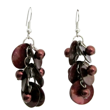 Brown Shell Moop Shell Earring w/ Simulated Beads Dangling Earrings