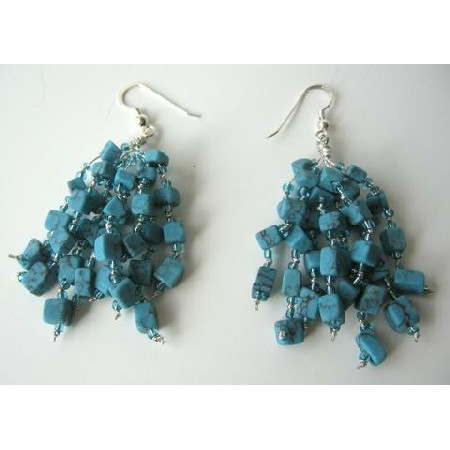 Sterling Silver Reconstituted Turquoise Handcrafted Earrings