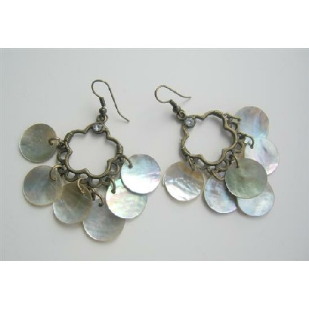 Natural Mop Shell Dangle Oxidixed Chandelier Earrings