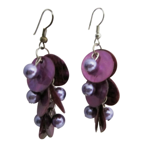 Purple Shell & Simulated Pearl Chandelier Shell Beads Dangle Earrings