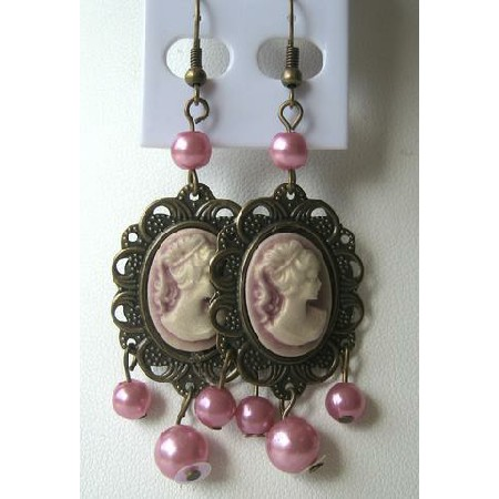 Beautiful Pink Victorian Lady Earrings w/ Simulated Pearls Dangling