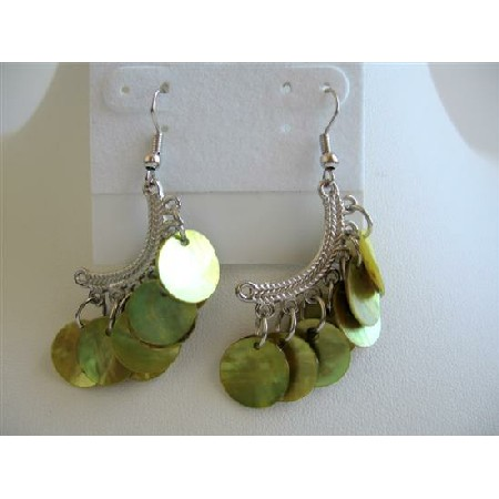 Olive Green Mop Shell Dangling Earrings Half Moon Chandelier Earrings
