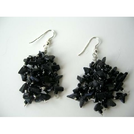 Custom Sterling Silver Earrings w/ Black Onyx Stone Chip Earrings