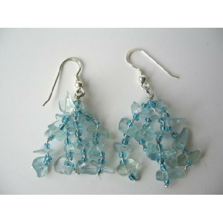 Sterling Silver Handmade Aquamarine Stone Chip Shape Dangling Earrings