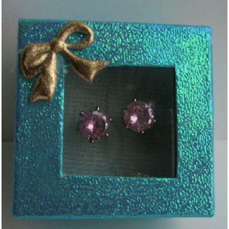 Cubic Zircon 8mm Stud Earrings w/ Gift Box Packing