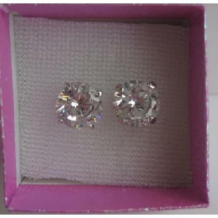 10mm Round Simulated Diamond Cubic Zircon Stud Earrings w/ Gift Box
