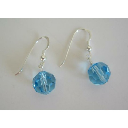 Aquamarine Swarovski Crystal 10mm Sterling Silver Crystal Earrings