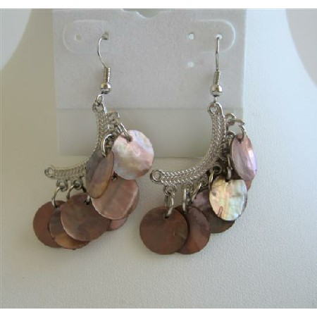 Natural Brown Shell Half Moon Chandelier Dangling Fancy Beads Earrings