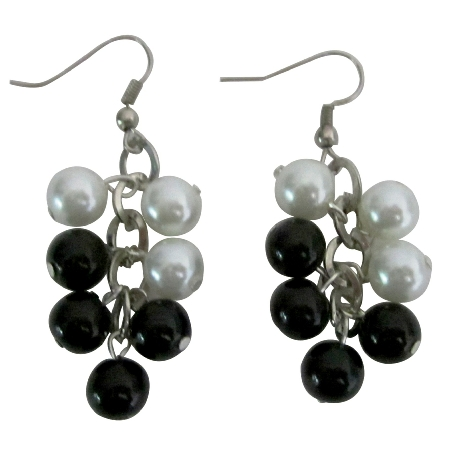 Black & White Pearls Earrings Synthetic Pearls Chandelier Earrings