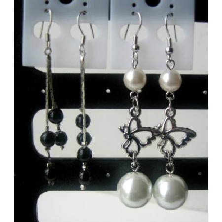 Simulated Pearls Dangling Earrings
