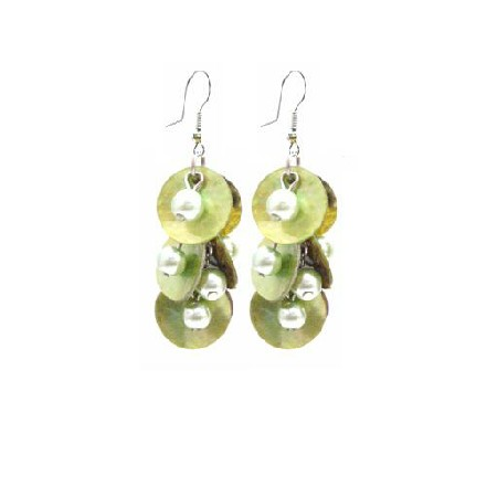 Striking Shell Earrings Natural Green Shell w/ Beads Dangling EarringS