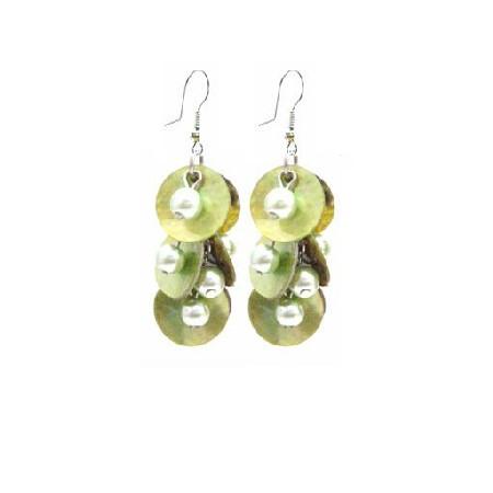 Striking Shell Earrings Natural Green Shell w/ Beads Dangling EarringS