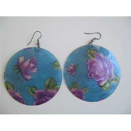 Fashion Round Mop Shell Earrings Painted Shell Earrings
