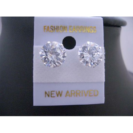 Round Simulated Diamond Stud Earrings 10mm Sterling Silver Earrings
