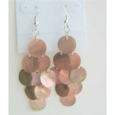 Shell Chandelier Earrings Sexy Brown Mop Shell Dangle Earrings