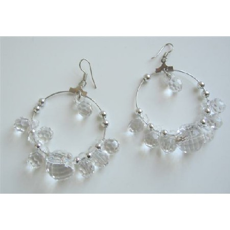 Simulated Clear Crystals Hoop Earrings