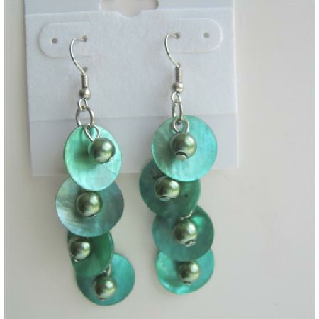 Green Beads & Shell Dangle Chandelier Earrings