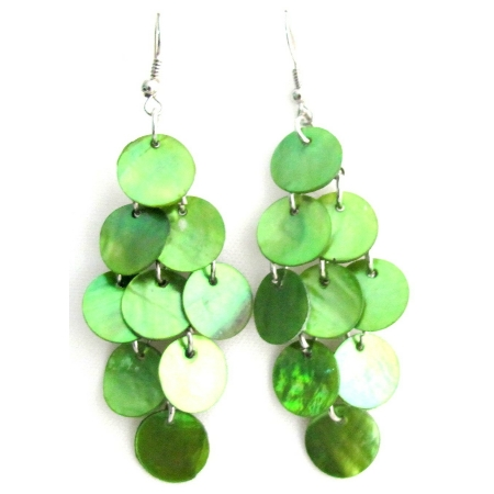 Neon Green Cool Shell Dangle Chandelier Earrings Mop Shell Earrings
