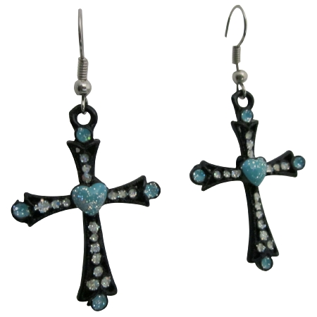 Black Cross Earrings w/ Bule Heart & Cubic Zircon Embedded Earrings