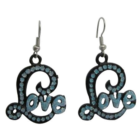 L Shape Earrings w/ Blue Cubic Zircon Word Love Fabulous Earrings