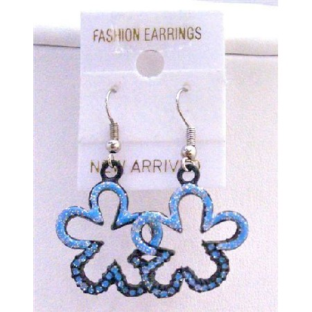 Enamel Blue Glitter Flower Earrings Blue Glitter Flower Earrings Gift
