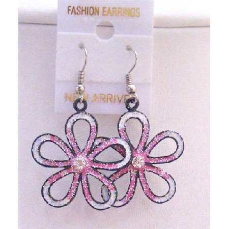 White Pink Flower Earrings White Pink Glitter White Enamel Earrings