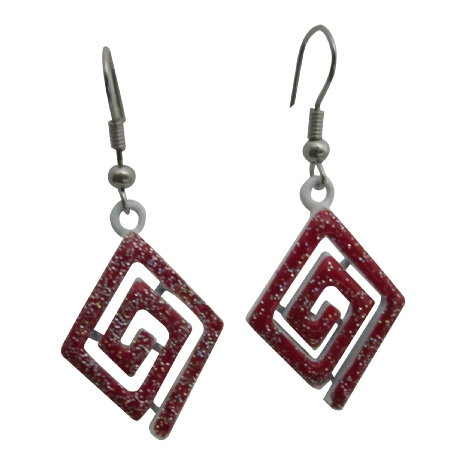 Red Diamond Shaped Earrings Red Glitter Enamel Dangling Earrings Gift