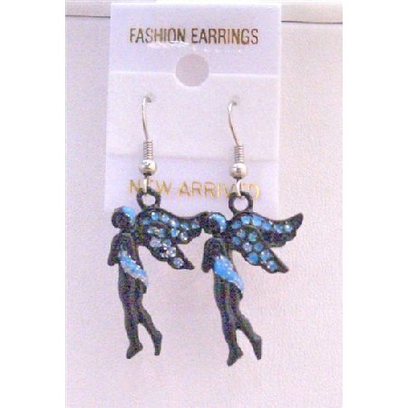 Angel Fairy Earrings Black w/ Blue Cubic Zircon Glitter Earrings