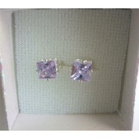 Lavender Earrings 8mm Lavender Cubic Zircon Prince Cut Stud Earrings