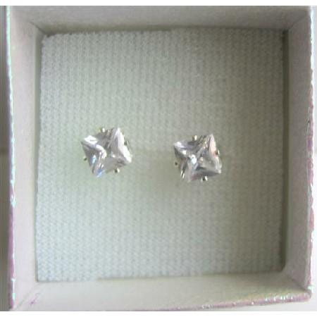 Cubic Zircon Prince Cut Stud Earrings Simulated Diamond Stud Earrings
