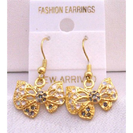 Gold Plated Earrings w/ Multicolor Cubic Zircon Butterfly Earrings