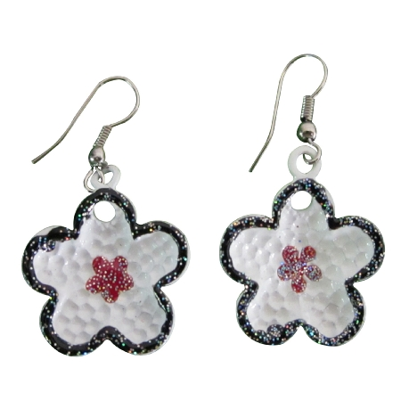 White Enamel Flower Earrings w/ Fashionable Red Glitter Star Earrings
