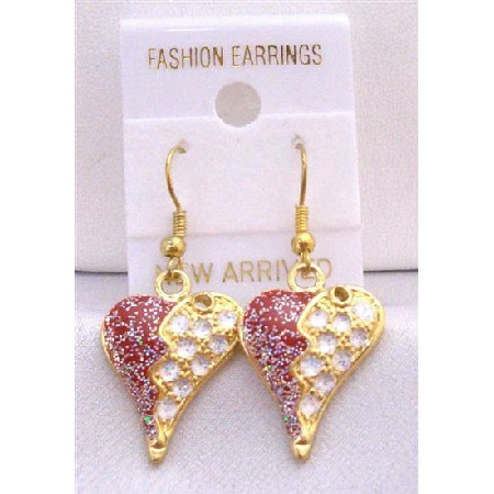 Gold Plated Puffy Heart w/ Red & White Glitter Decorated Earrings