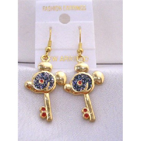 Key Earrings w/ Mouse Face Earrings Gold Plated Key w/ Black Glitter