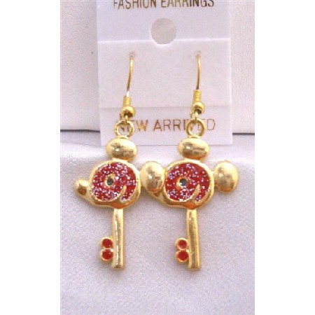 Mouse Face Key Earrings Gold Plated Key Earrings w/ Red Glitter
