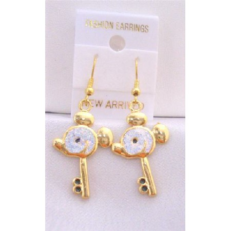 Gold Plated Key Earrings w/ Mouse Face Earrings w/ White Glitter