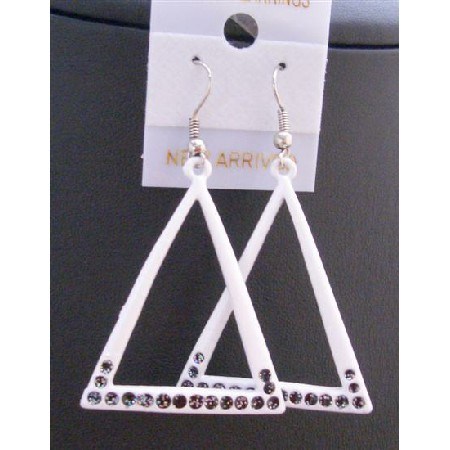 White Triangle Dangling Chandelier Triangle Earrings w/ Black Cz