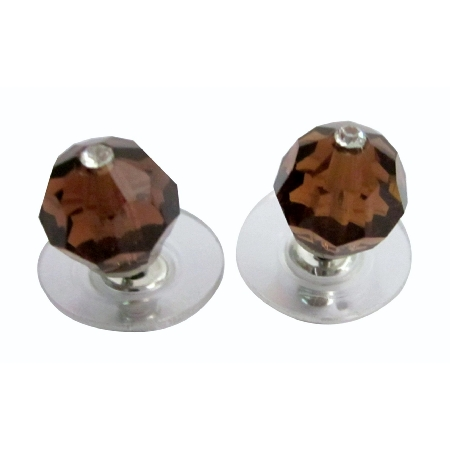 Swarovski Crystal Smoked Topaz Brown Crystals Stud Earrings