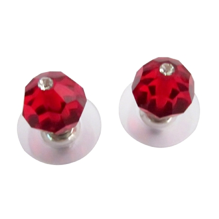 Lite Siam Red Swarovski Crystal Stud Cheap Fashion Earrings
