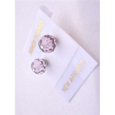 Lite Amethyst Crystal Stud Earrings Inexpensive Swarovski Jewelry