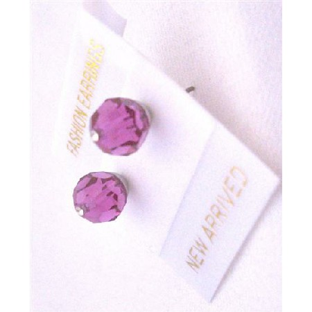 Bridesmaid or Flower Girl Fuchsia Swarovski Crystal Stud Earrings