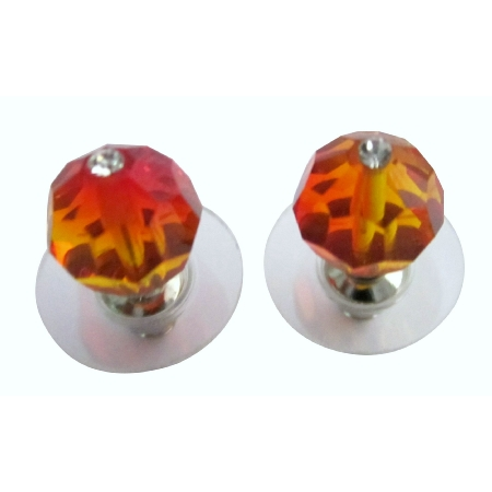 Fire Opal Burnt Orange Inexpensive Swarovski Crystal Stud Earrings