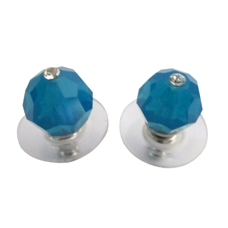 Sexy Carribean Blue Swarovski Crystal Stud Earrings Affordable Jewelry