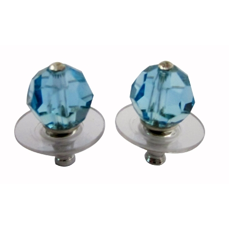 Aquamarine Swarovski Stud Earrings Affordable Jewelry
